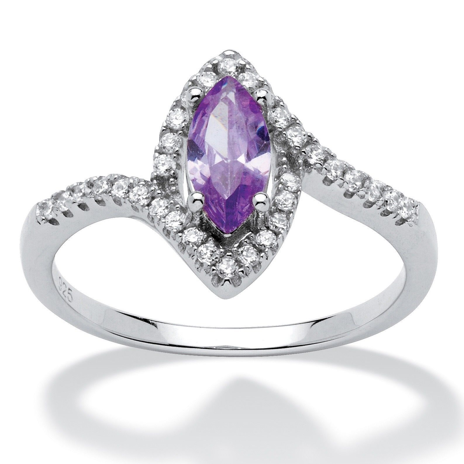 Primary image for Birthstone and CZ .925 Silver Halo Ring-February-Simulated Amethyst