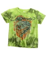 Ed Hardy Kids Tee Shirt Top Lime Green Orange Tiger Dragon Camouflage Ti... - $5.93