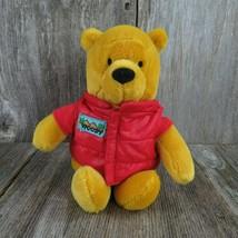 Pooh Bear Woody Plush Red Puffy Vest Jacket Disney Bean Bag Beanie Stuffed Anima - $42.56