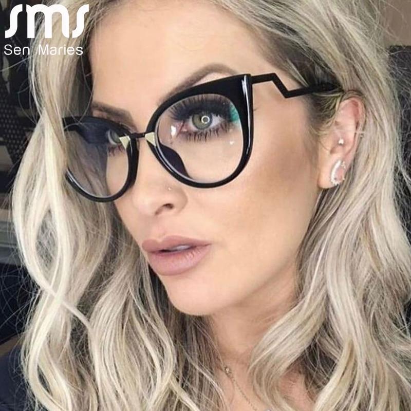 Cal sexy cat eye glasses frames women brand designer eyeglasses fashion clear lens eyewear uv400