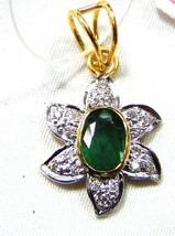 Genuine 0.50C Diamond Solid 14K Gold Hallmark  Gift Emerald Pendant CSJU... - $1,007.84