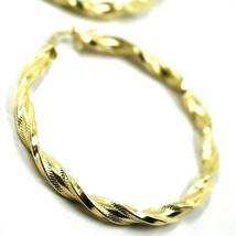 18K YELLOW GOLD BIG HOOPS EARRINGS DIAMETER 50mm TUBE 5mm TWISTED SATIN POINTED image 2