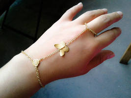 Slave Bracelet Gold Butterfly Hand Chain Slave Bracelet Gold Slave Brace... - $32.00