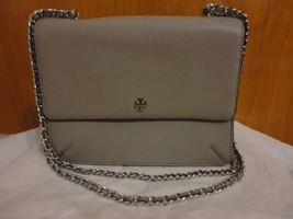 Tory Burch Robinson Convertible French Gray Saffiano Leather Chain Shoul... - $127.00