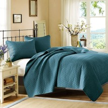 Luxury 3pc Peacock Blue Velvet Touch Quilted Coverlet AND Decorative Shams - $151.99+
