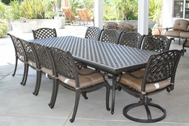 NASSAU 11PC OUTDOOR PATIO DINING SET WITH 46 X 120 TABLE SERIES 3000 - $3,266.01