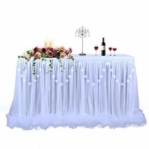 LED Table Skirt 9ft White Tulle Table Skirt Tutu Table Cloth Skirting fo... - $34.61