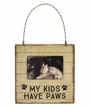 My Kids Have Paws Mini Frame Primitives by Kathy Picture magnet wall cat dog - $5.75
