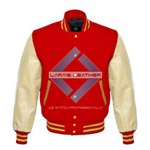 Red Varsity Baseball Genuine Leather Sleeves Letterman College  Men Wool... - $75.00