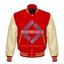 Red Varsity Baseball Genuine Leather Sleeves Letterman College  Men Wool... - $75.00