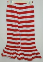 Blanks Boutique Girls Red White Stripe Ruffle Pants Size 18 Months image 2