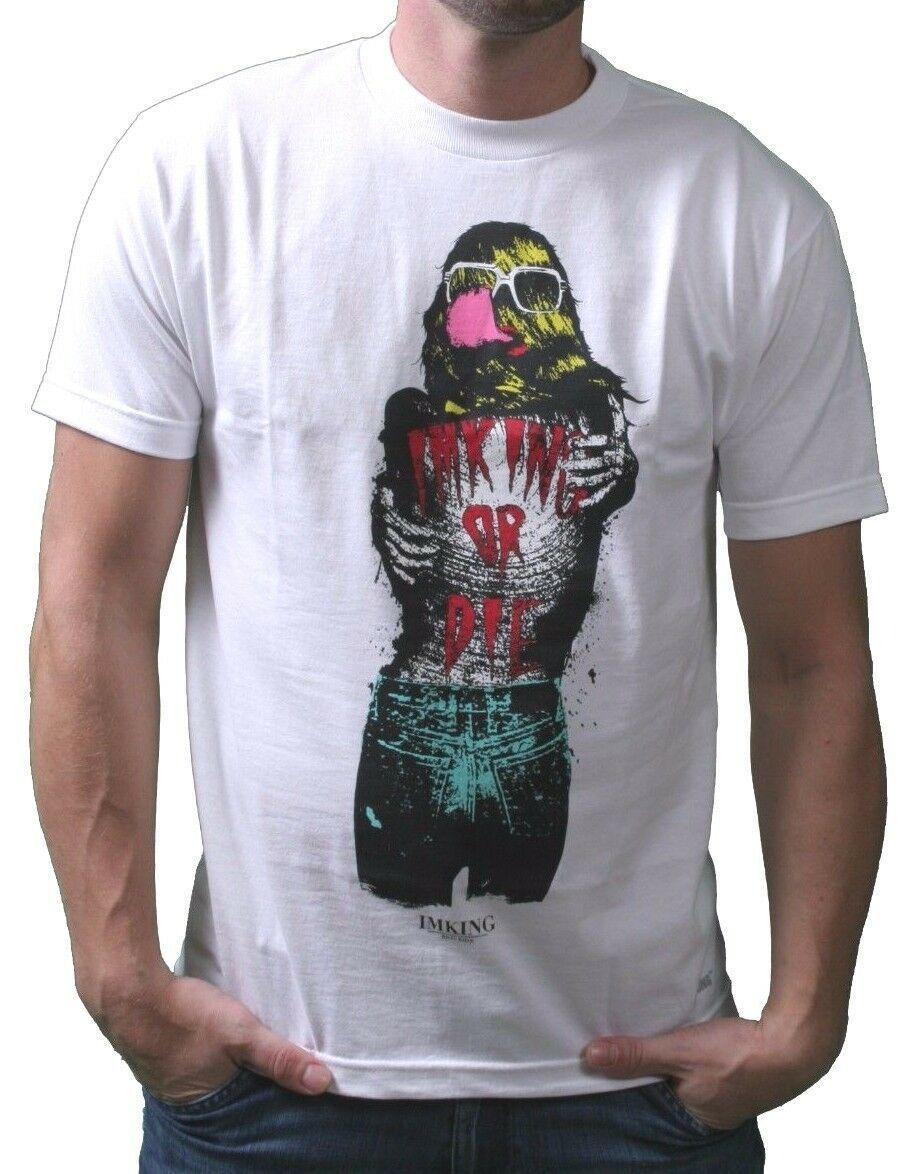IM King Bianco Uomo Loudmouth Loud Bocca T-Shirt USA Fatto Nwt