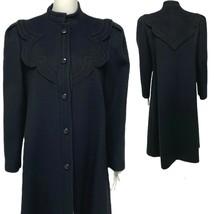 Vintage Nipon Coature women's Fortsman fabric wool long coat black size 12 - $178.20