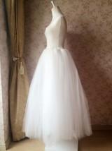 Plus Size Long Tulle Skirt Ivory Wedding Tulle Skirt 4-Layered Puffy Tutu image 8