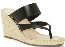 Vince Camuto Lavanda Leather Thong Wedge Espadrilles, Multi Sizes Black VC-LAVAN - $89.95