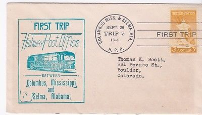 FIRST TRIP H.P.O. COLUMBUS MISS & SALEM ALA SEPT 26 1949 TRIP 2