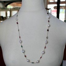 """18K ROSE GOLD LONG NECKLACE ROLO CHAIN, BIG 12mm PEARLS & TOURMALINE DROPS 26.7"""" image 2"""