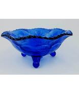 Vintage Cobalt Blue Glass Deer & Holly Leaves P... - $25.00
