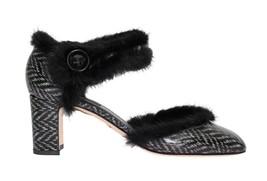 Dolce & Gabbana Women Black White Leather Print Fur Pumps EU39/US8.5 - $259.85