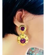 Gorgeous Swarovski Amethyst Crystal & Gold Tone Dangle Drop Pierced Earr... - $77.35