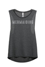 Thread Tank Mermaiding Women's Sleeveless Muscle Tank Top Tee Charcoal Grey - $24.99+