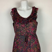 J Crew Dress Silk Floral Sleeveless Multicolor Ruffled Career Casual Sz 6 image 2