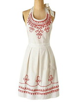 Anthropologie Twists + Turns Apron White Coral Piping Shower Hostess Mom... - £33.09 GBP