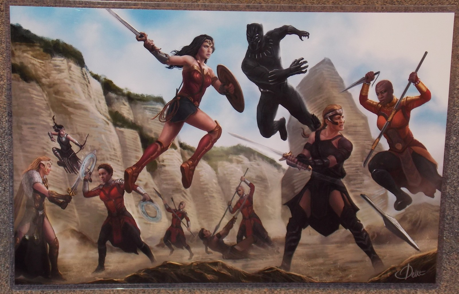 Primary image for Wonder Woman vs Black Panther Glossy Art Print 11 x 17 In Hard Plastic Sleeve
