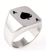Mens Biker Ace of Spades 316L Stainless Steel Poker Luck Ring size 8 - $17.00