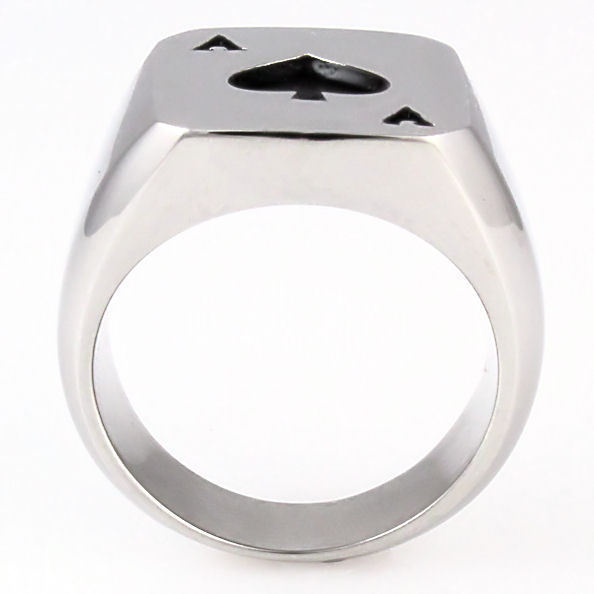 Mens Biker Ace of Spades 316L Stainless Steel Poker Luck Ring size 8