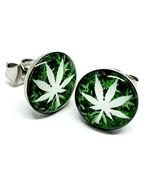 Weed Ganja Cannabis Marijuana Leaf Stud Earrings Metal Unisex Boho 10mm ... - $16.92