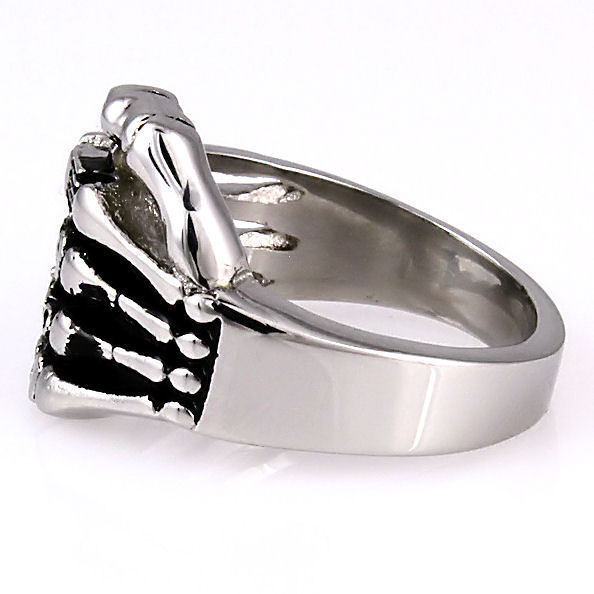 Mens Carved Skulls Biker Skeletal Hand Ring solid 316L Stainless Steel size 11
