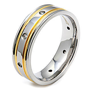 Mens IP Gold & Titanium Russian Ice CZ Band Ring sz 10