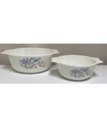 PYREX JAJ England Blue Iris Casserole Serving Bowls Set of 2 - $23.99