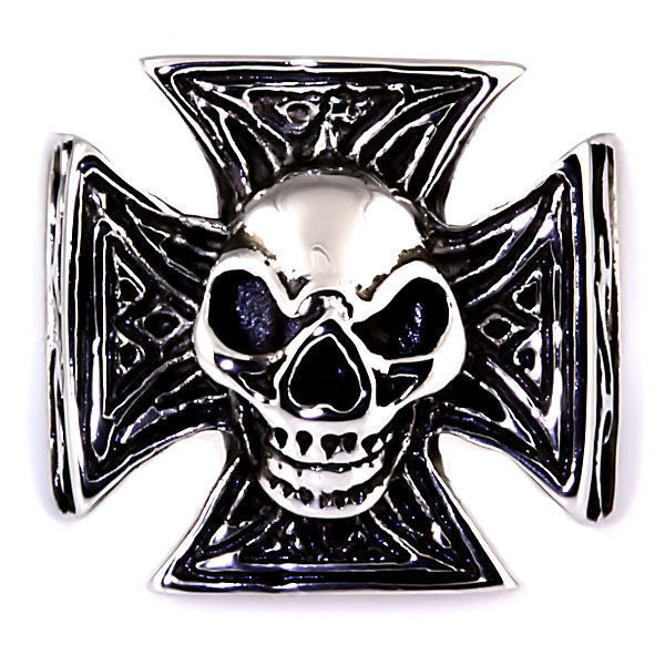 Mens Imposing Skull & Maltese Iron Cross Biker Ring 316L Stainless Steel size 11
