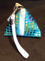Pyramid Bag/Wristlet/Gift Bag - Turquoise Blue Hologram/Holographic polka dots