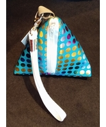 Pyramid Bag/Wristlet/Gift Bag - Turquoise Blue Hologram/Holographic polk... - $19.95