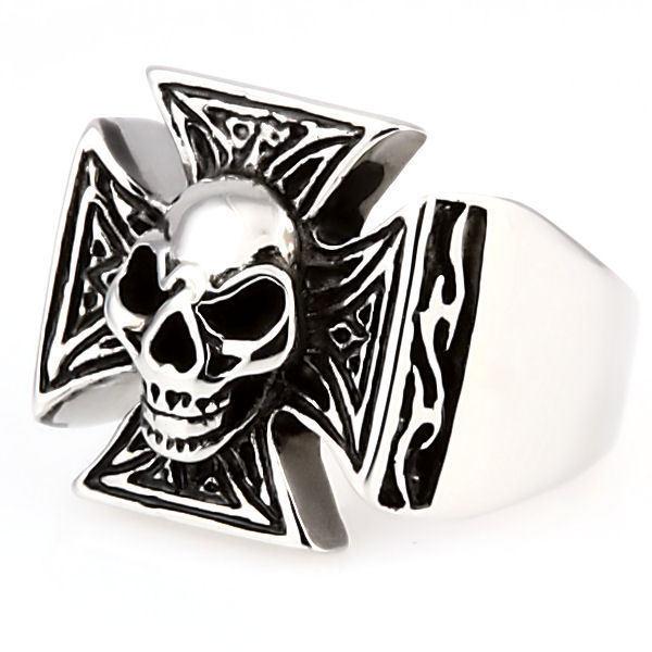 Mens Imposing Skull & Maltese Iron Cross Biker Ring 316L Stainless Steel size 15