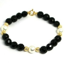 BRACELET YELLOW GOLD 18K 750, ONYX BLACK FACETED, PEARLS, SPHERES YOU WORK - $331.63