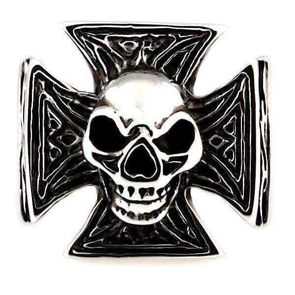 Mens Imposing Skull & Maltese Iron Cross Biker Ring 316L Stainless Steel size 8