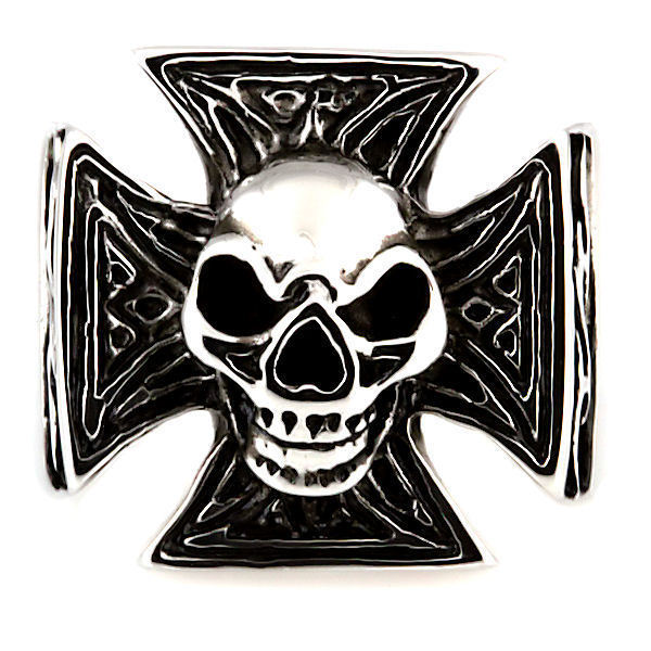 Mens Imposing Skull & Maltese Iron Cross Biker Ring 316L Stainless Steel size 9