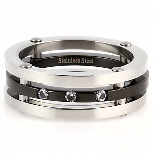 Mens Russian CZ 3 in 1 Stainless Steel Band Ring sz 10