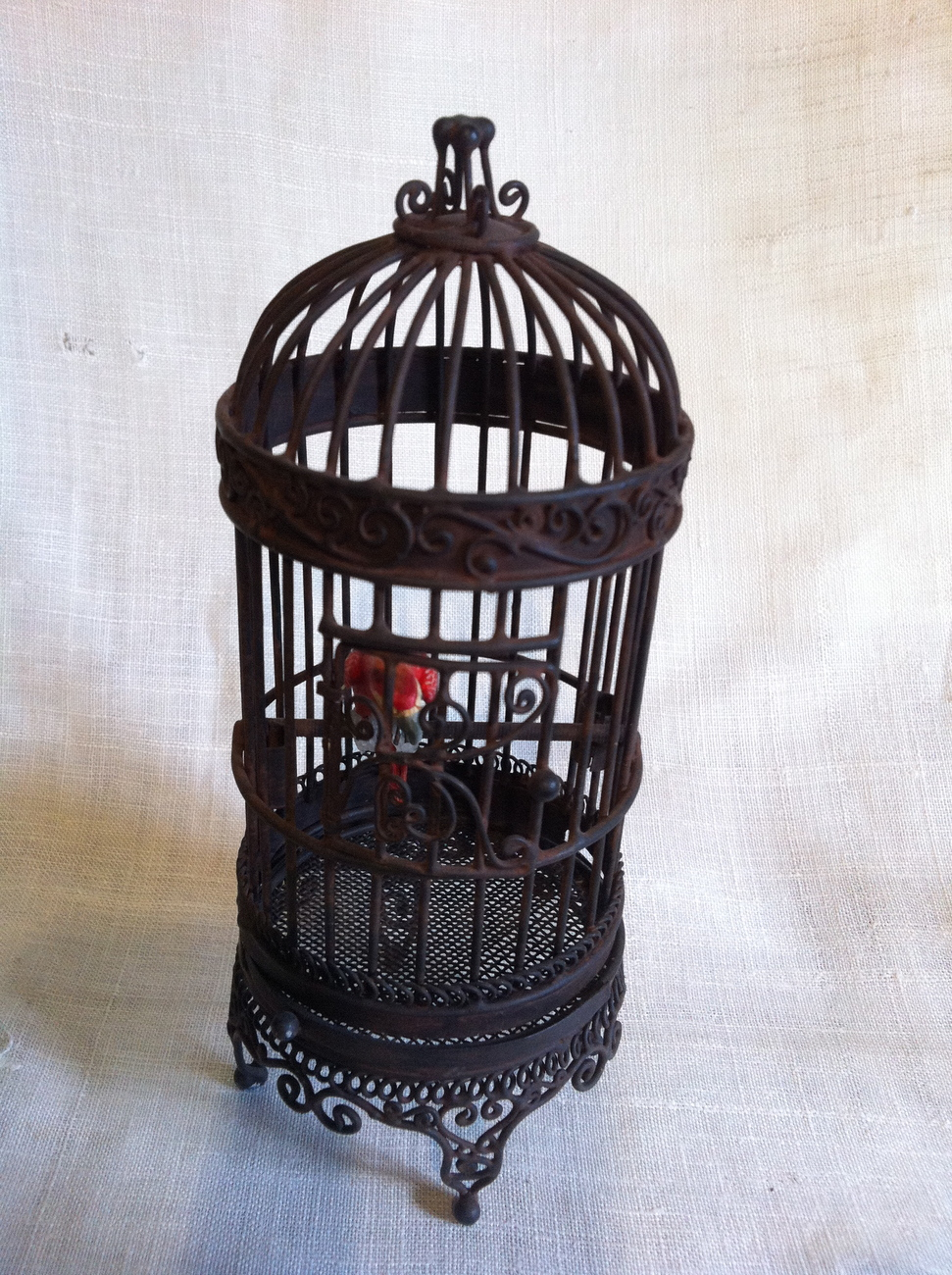 Miniature Bird Cage with Parrot