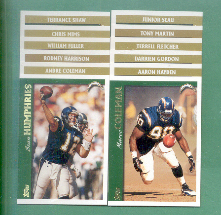 1997 Topps San Diego Chargers Football Team Set