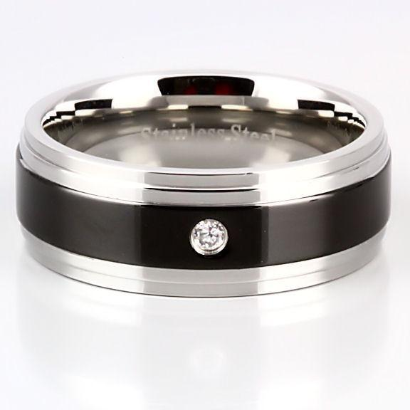 Mens Russian CZ Two Tone Stainless Steel Band Ring s 8