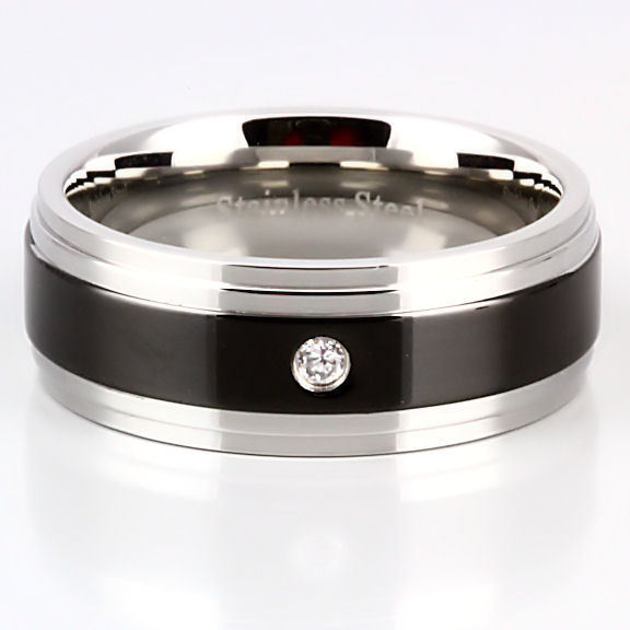 Mens Russian CZ Two Tone Stainless Steel Band Ring s 9