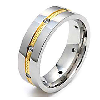 Mens Titanium & IP Gold Russian Ice CZ Band Ring sz 8