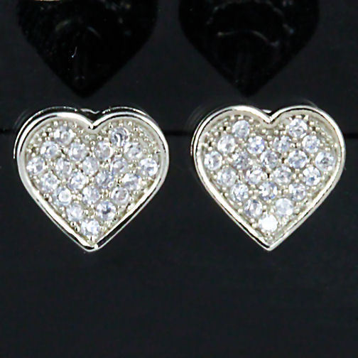 Pave Heart-Shaped Russian CZ 10m Screw-on Post Earrings