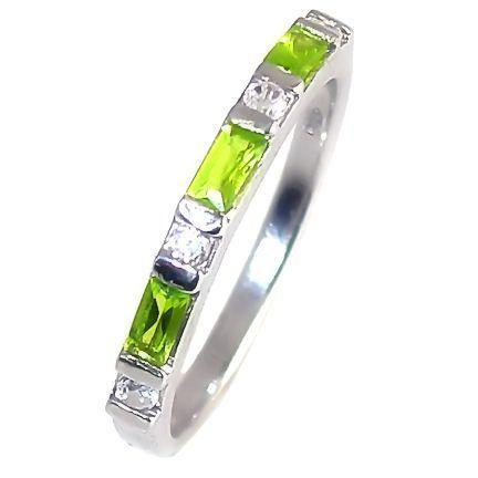 Peridot & Russian Ice CZ Stackable Ring 925 Silver sz 9