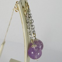 925 STERLING YELLOW SILVER PENDANT EARRINGS WITH BIG AMETHYST BALLS SPHERE, ROLO image 2